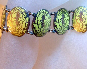 Vintage Sterling Bracelet - 7.5 Inches or 19cm - Lemon Yellow Enamel On Sterling Silver - Fairy Goddess - Siam Silver