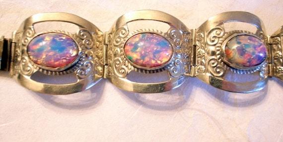 Taxco Opal Bracelet Set In Sterling Silver - Old Eagle Mark - Mexico