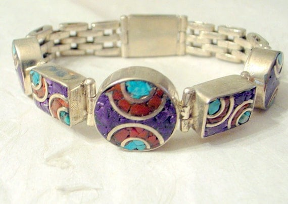 RESERVED Deco  Bracelet - Modernist Mid-Century- Inlaid Turquoise And Coral Geometric Tribal Design - Silver - 7 Inch Wrist