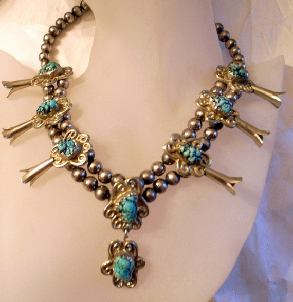 RESERVED Squash Blossom Necklace - SALE-Unique Design-Heavy- Beautiful Turquoise Nuggets-Native American Indian