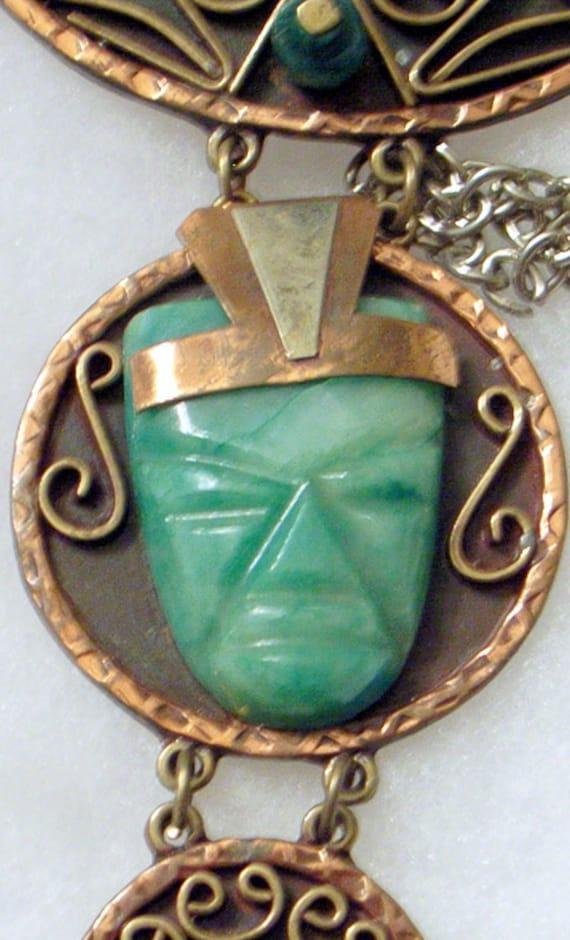 HUGE Aztec Face Necklace-Casa Luna Mexico- 5 Inch Pendant - Heavy Copper- Silver-Jade Face-Mid-Century Modern Bib SALE