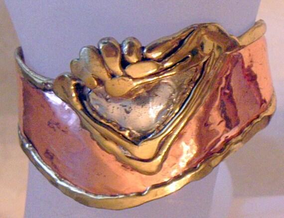 Brutalist Bracelet Earrings Set - Modernist - Mid-Century - Mixed Metals - Cuff - Big Pierced Earrings-Lovely Condition-SALE
