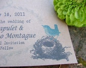 Save the Date Cards  - sweet cookie sweet bird and nest  SET OF 100 eco friendly