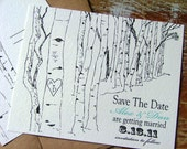 Rustic save the date cards, tree save the dates