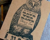Save the date postcards: Natural woodland wedding,awesome owl card
