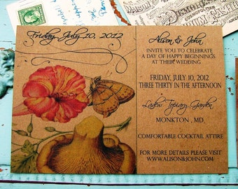 Simple Garden wedding invitation: Mushroom and Butterfly, Rustic Wedding Invitation, Nature Wedding, Mrs & Mrs