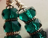 Deep Teal - Faceted Glass Earrings