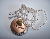 hand stamped personalized heart necklace copper, brass, aluminum - sale