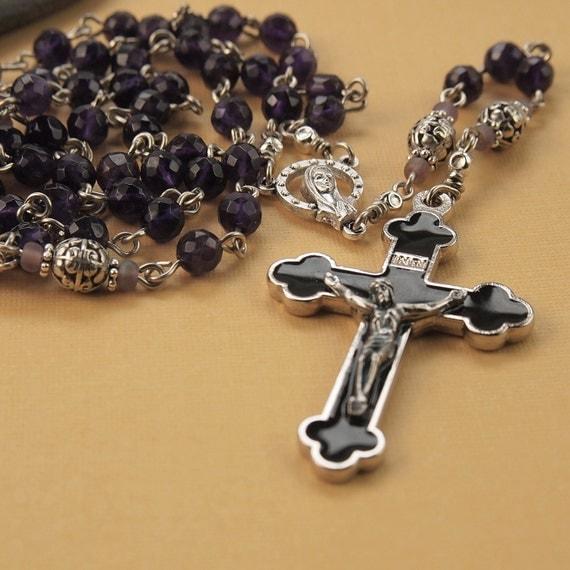 Amethyst Rosary with Black Enamel Inlay Crucifix