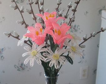 French beaded flower handmade bouquet of lilies, pussy willow and daisies