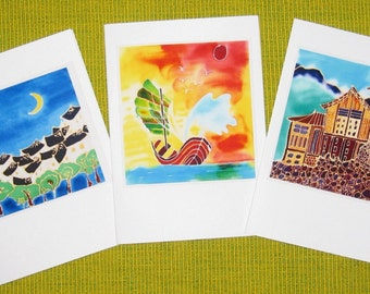 Handmade cards - Scenery 01, Under the sun and moon