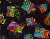 RARE Laurel Burch Fabric Bountiful Blessings Black Presents Christmas