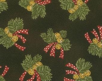 Christmas Magic Moda Fabric 1 Yard Black Bows Bells
