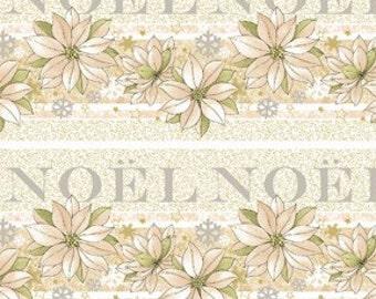 Noel Border Stripe Fabric 1 Yard Cream Christmas