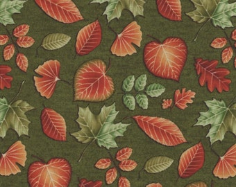 Fall Leaves on Green 1  Yard Fabric