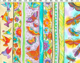 Laurel Burch Fabric Butterflies Cream Border Stripe Flying Colors II 1 Yard 833-2M