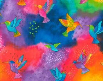 Laurel Burch Fabric Humming Birds Splash Flying Colors II 1/2 Yard 837-31