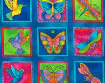 Laurel Burch Fabric Butterflies, Dragonflies, Humming Birds Dk Aqua Squares Flying Colors II 3 Rows 832-34