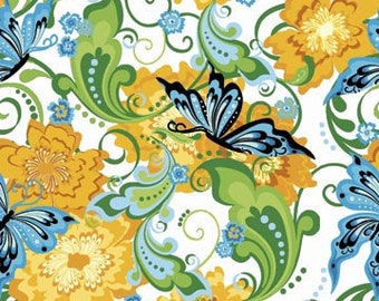 Rhapsody Butterflies and Flowers Yellow Green Fabric 1 Yard