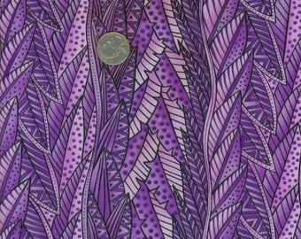 1 Yard Laurel Burch Fabric Secret Jungle Purple Leaves