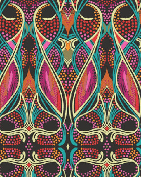 Patternista Chorus Line Orange Turquoise Fabric 1 Yard