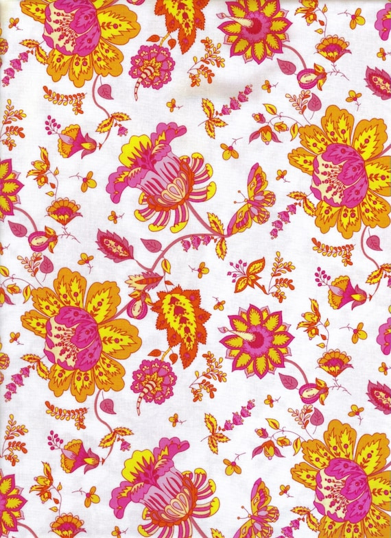 Soiree Fabric White with Pink, Yellow and Orange Flowers 1 Yard