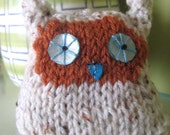 Owl key ring - knitted cutie