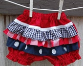 Patriotic Bloomers Red White Blue Gingham Dots