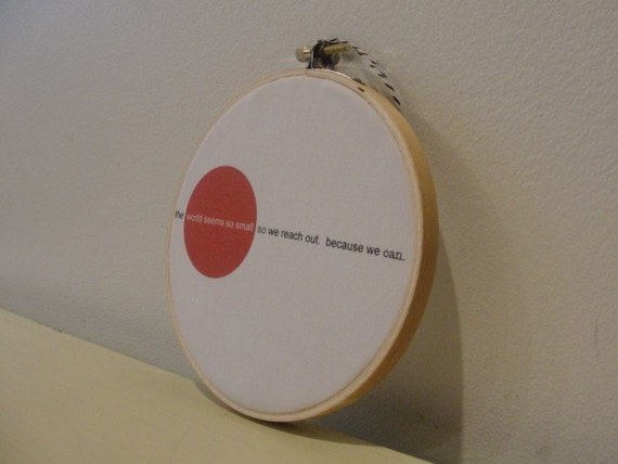 JAPAN RELIEF FUND original art in a wood embroidery hoop all proceeds from the sale of this item will go to the Red Cross