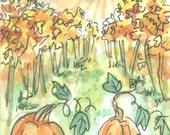 Sunrise in an Autumn Vineyard ACEO Original Watercolor