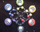 Skull Wine Charms Set of 6 Halloween or Day of the Dead