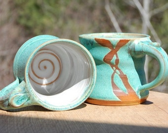 Small Turquoise Mug with Rust Design - Made to Order