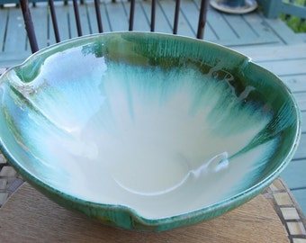 Massive Serving Bowl in Turquoise and White- Made to Order