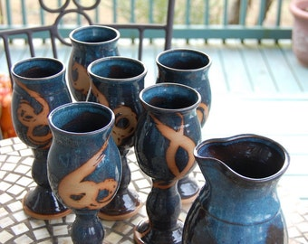 Set of Six Wine Goblets and Carafe in Slate Blue with Rust Design- Made to Order