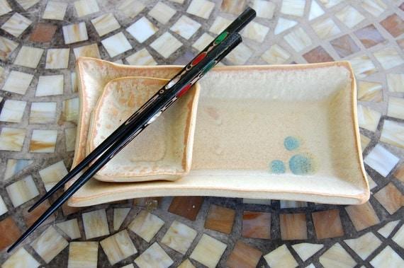 Two Dish Sushi Set in Sunburst Glaze with Berry Dots