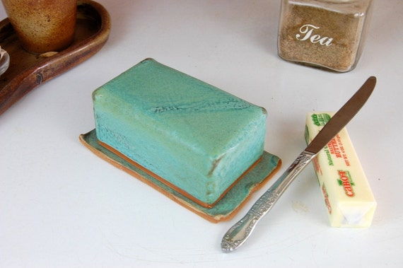 Covered Butter Dish in Turquoise- Made to Order