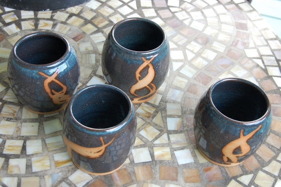 Stemless Wine Glass or Drinking Cup in Slate Blue with Rust- Made to Order