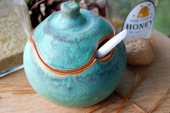 One Sugar Bowl / Honey Jar- Turquoise- Made to Order