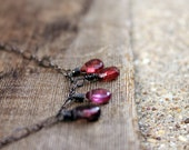 Forest Berry Necklace - Genuine Tundra Sapphires - Oxidized Silver wire and chain - Ombre Shades of Jewel Tone Purple and Pink