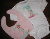 Happy First Birthday 2p Set...... Reversible Chenille Bib and Onesie.....You Choose Fabric....Add a Matching Skirt for 12.00