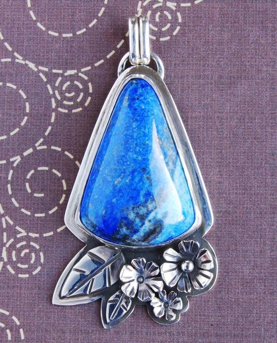 Blue Lapis Floral Sterling Silver Pendant