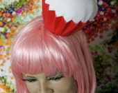 As seen on Good Day LA/ YUM Cupcake Party Hat // Red Hat Black Bow White Frosting
