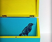 Raven recipe box with 10 matching recipe cards- blue and yellow