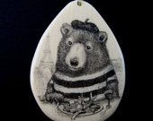 Original scrimshaw bear in Paris France mammoth ivory pendant