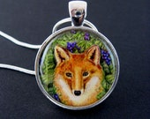 Red fox and grapes miniature giclee print pendant