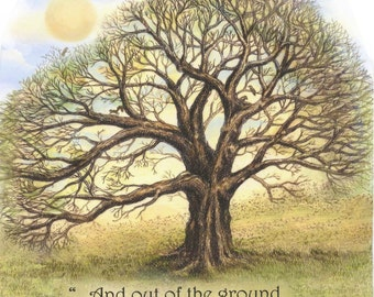tree inspirational bible verse Genesis religious Moosup giclee