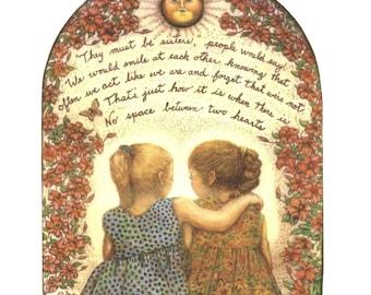 best friends heart love like sisters giclee print