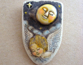 Under the sleeping Moon scrimshaw technique resin pin