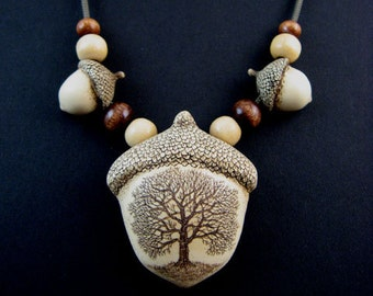 Tree acorn beads scrimshaw technique resin pin or  pendant necklace