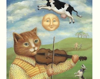 The Cat and the Fiddle  Nursery childrens art giclee print